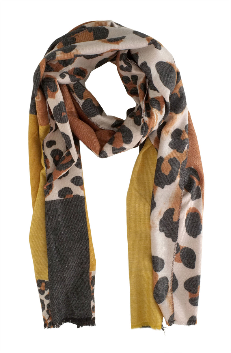Mustard and Grey Leopard Scarf
