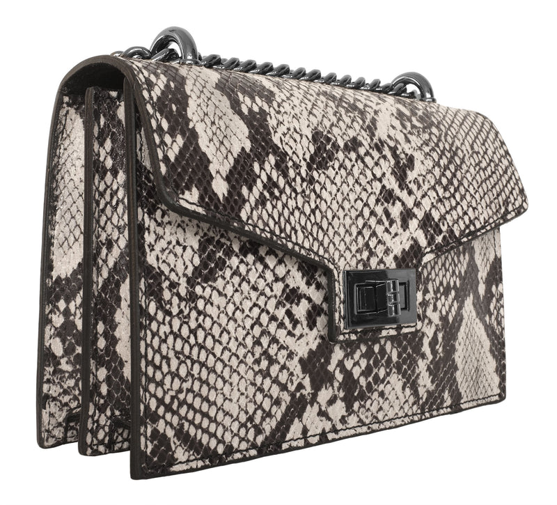 Snake Print Leather Bag with Chain Strap