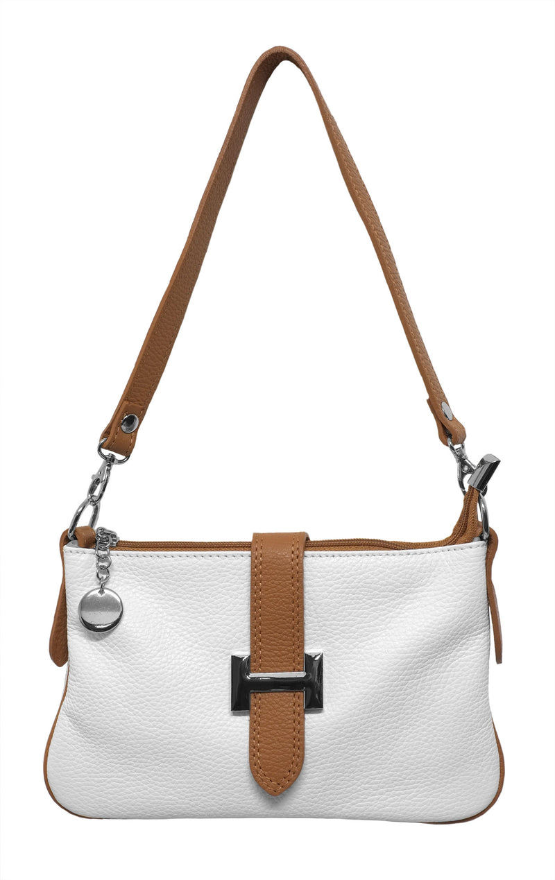 Cream and Tan Leather Pochette