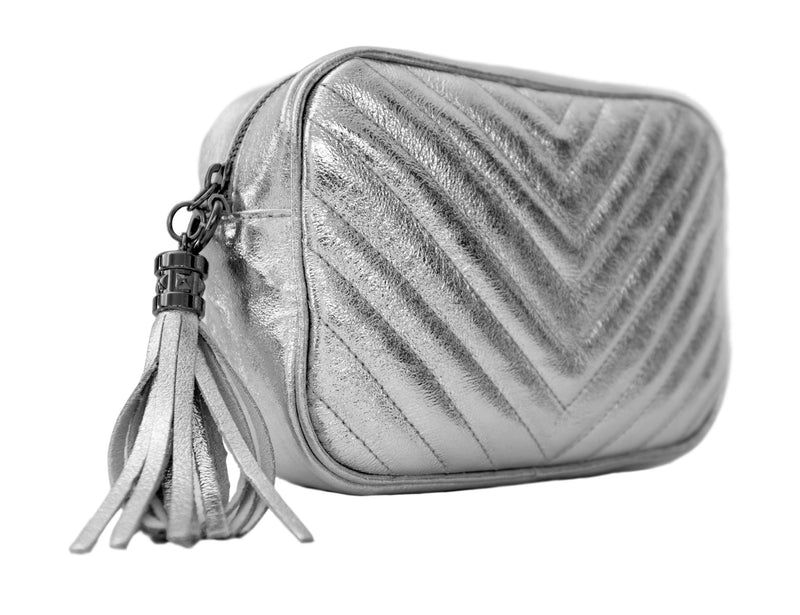 Silver Chevron Quilted Leather Bag