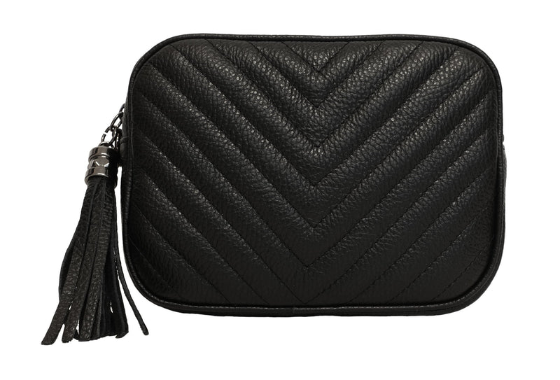 Black Chevron Quilted Leather Bag