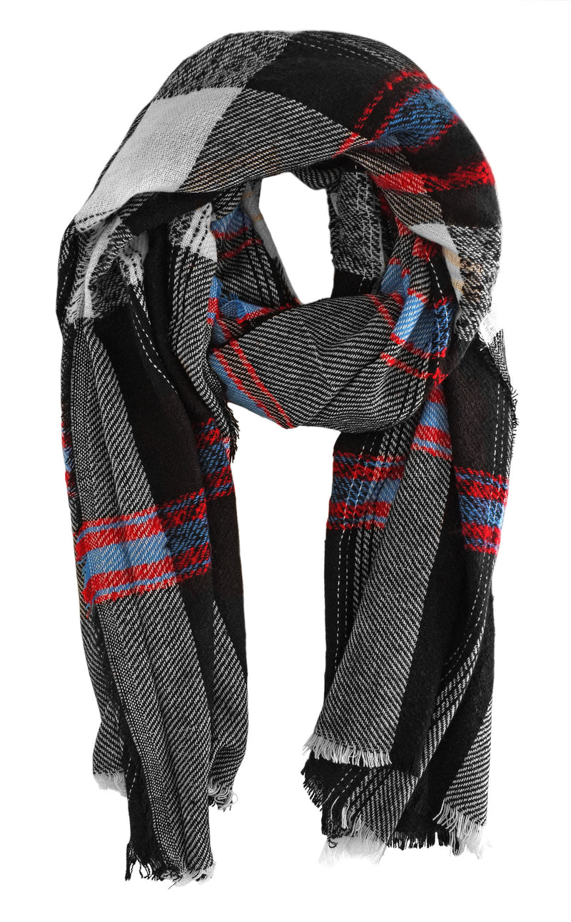 Oversize Black and White Tartan Scarf