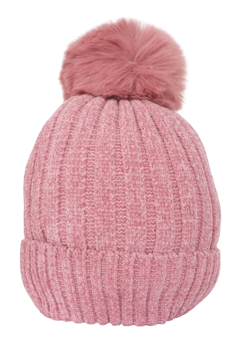 Blush Pink Fleece Lined Pom Hat