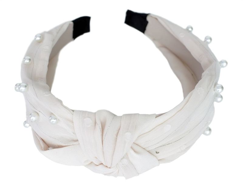 Cream Pearl Knotted Hairband
