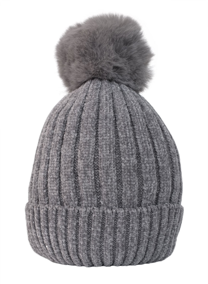 Grey Fleece Lined Pom Hat