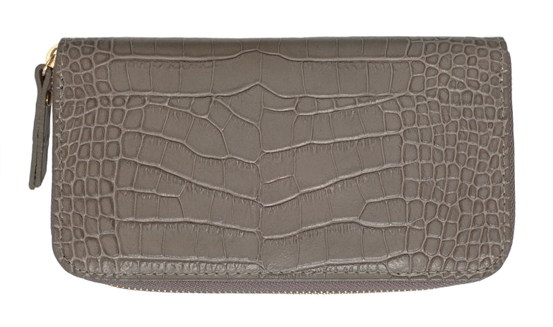 Grey Croc Leather Wallet