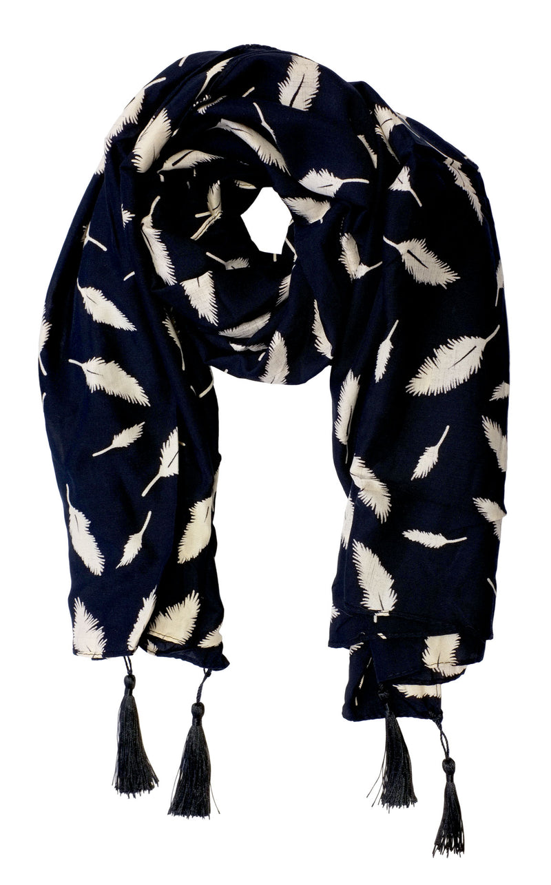 Leaf Print Navy Cotton Scarf