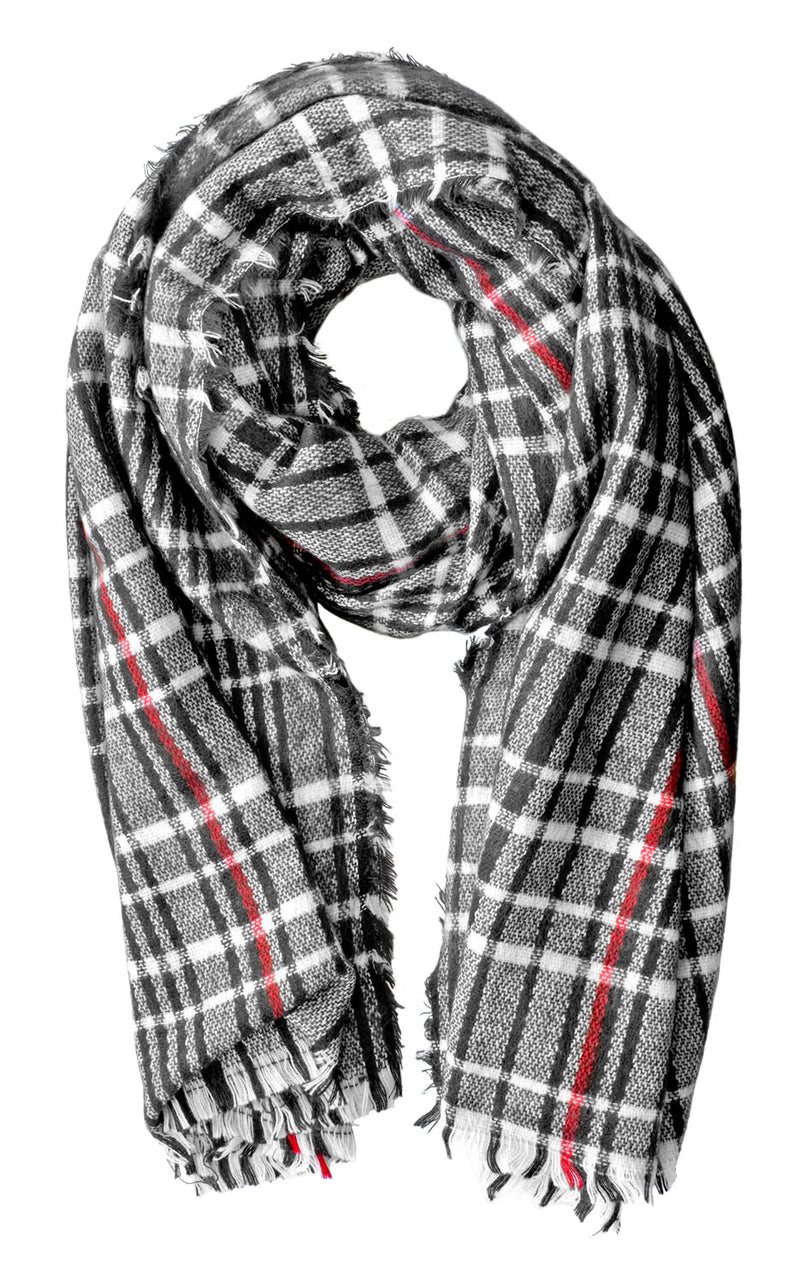Black, White and Red Tartan Blanket Scarf