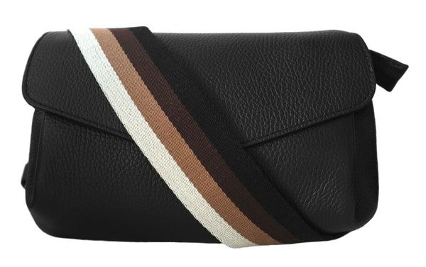 Stripe Strap Black Leather Bag