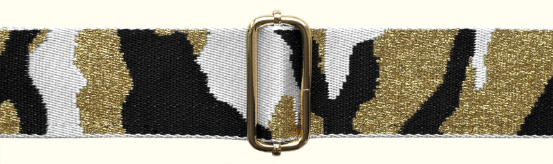 White, Black and Gold Strap