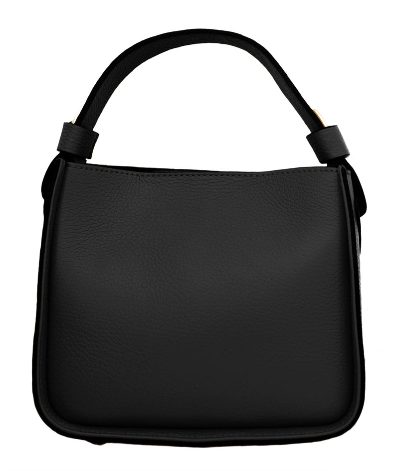 Black Leather Top Handle Box Bag