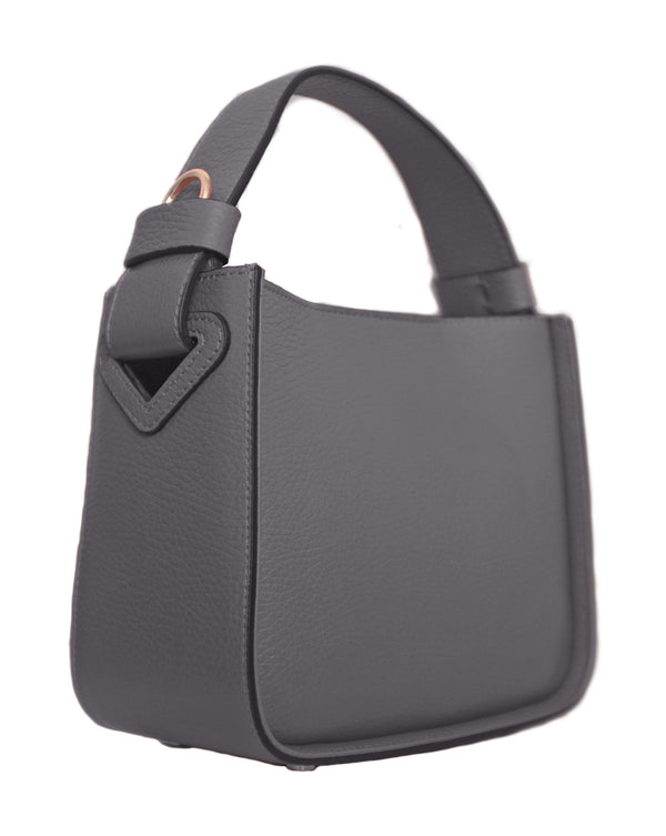 Grey Leather Top Handle Bag