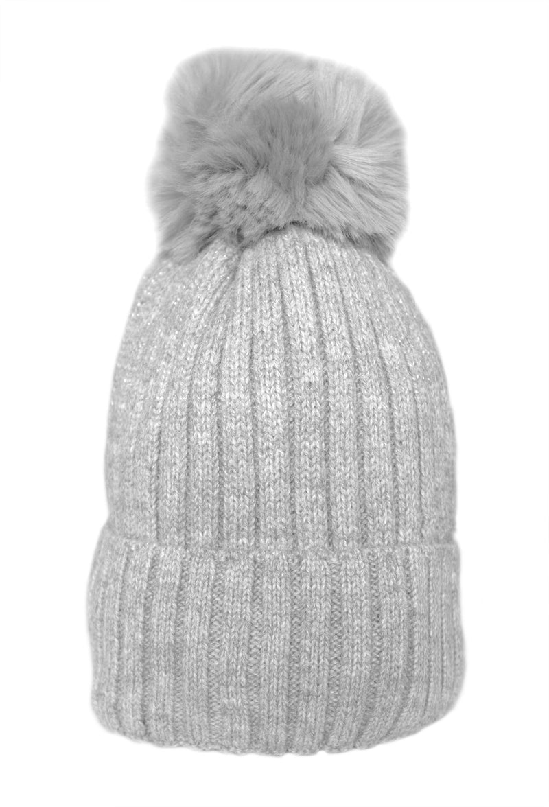 Soft Grey Fleece Lined Pom Hat