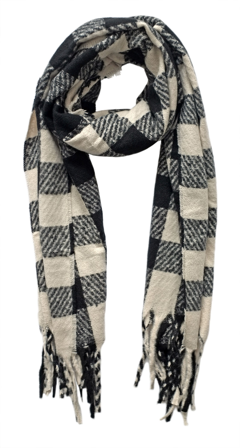 Black and Ecru Check Scarf