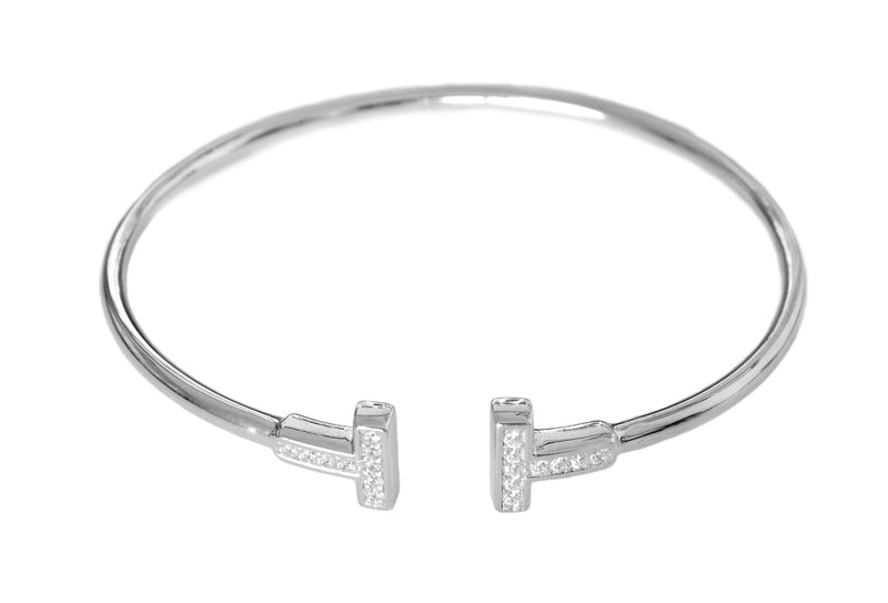 Silver Gold Pavé Set Bangle