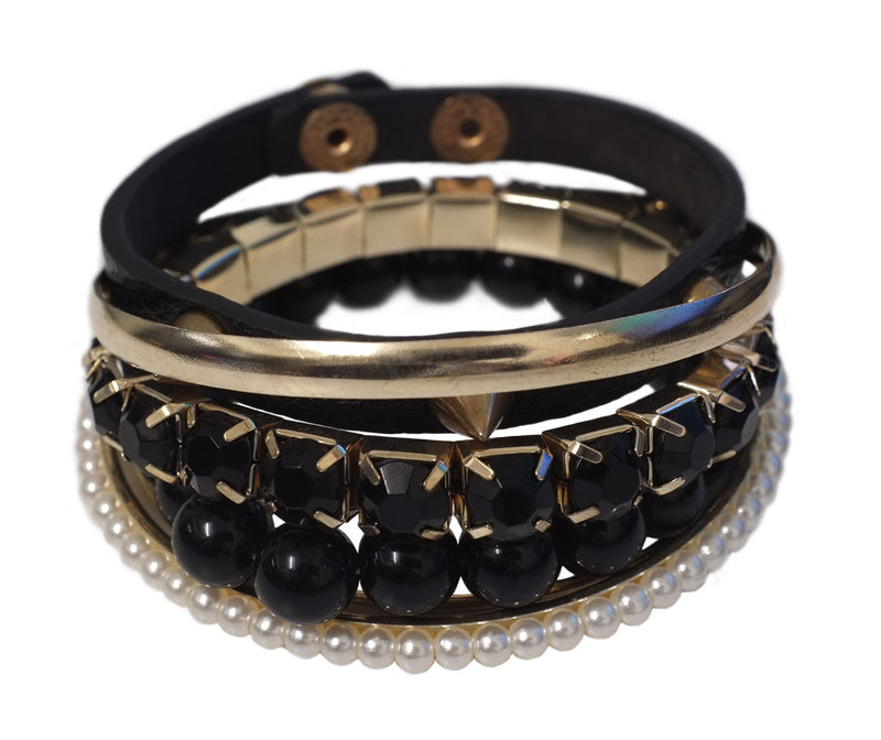 Black and Gold Bangle Stack