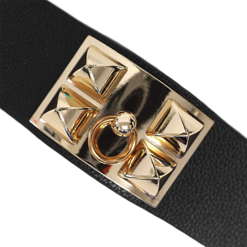 Black Leather Cuff with Gold Hardware