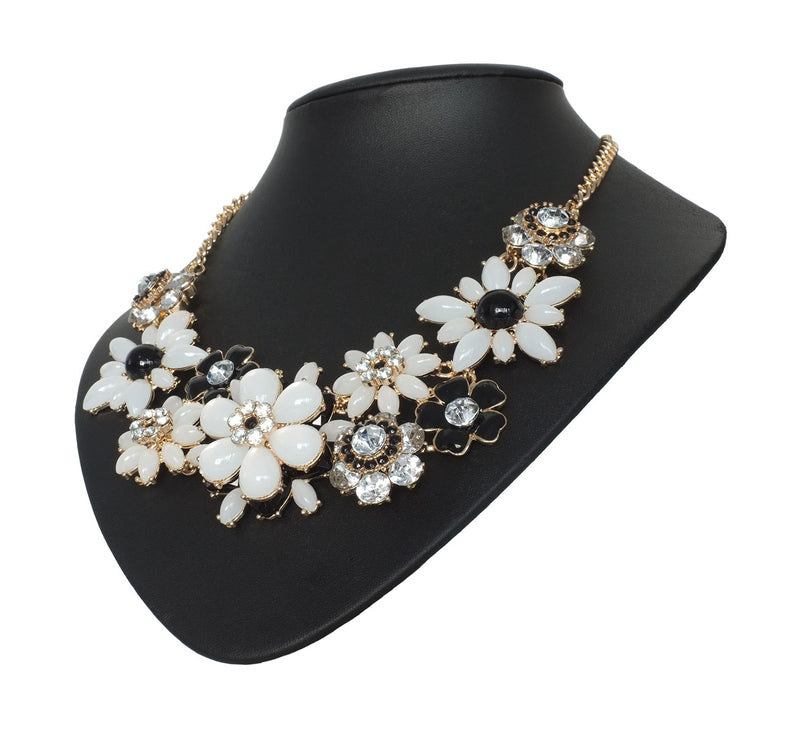 Monochrome Floral Statement Necklace