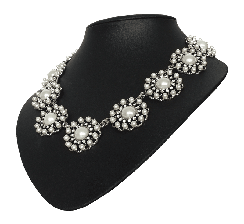 Pearl and Diamanté Statement Necklace