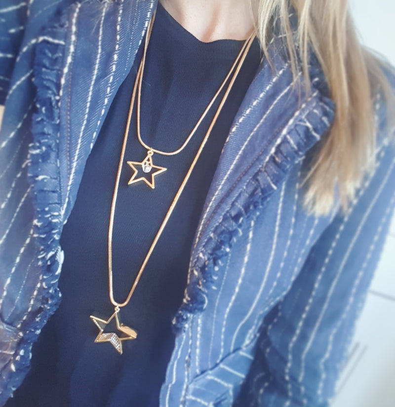 Gold Double Star Pendant Necklace