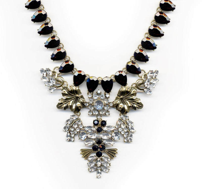 Black and Gold Art Deco Necklace