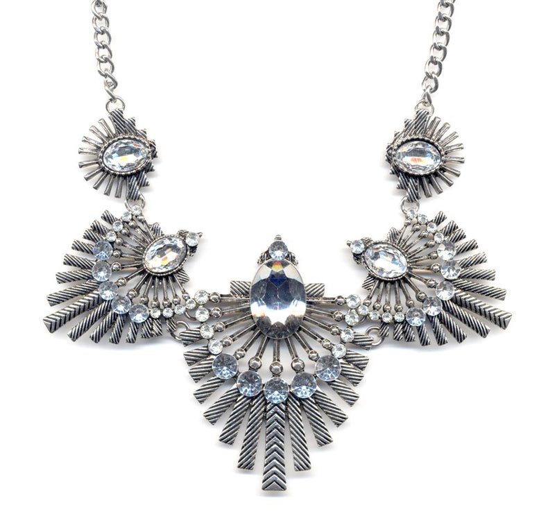 Silver Art Deco Statement Necklace