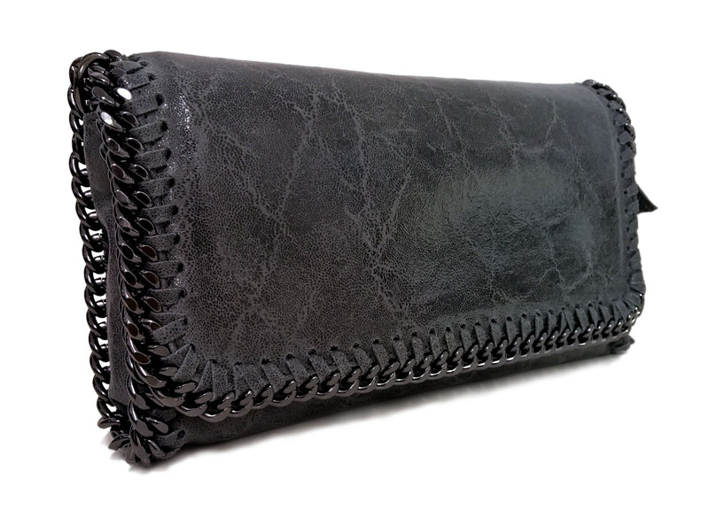 Grey Chain Edged Leather Clutch