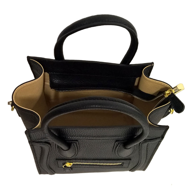 Black Soft Italian Leather Boxy Handbag