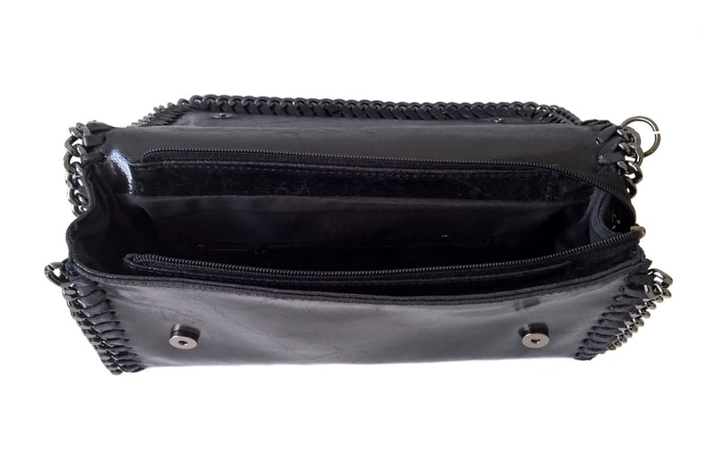Black Chain Edged Leather Clutch