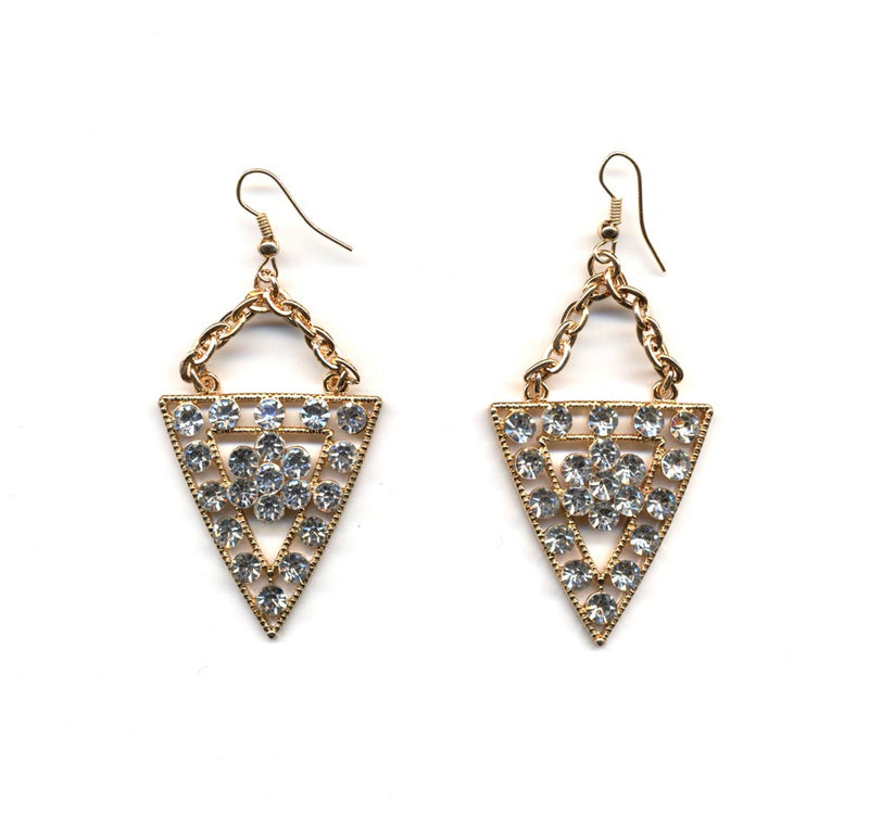 Gold and Crystal Angular Earrings
