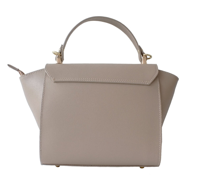 Cream Saffiano Leather Mid Size Bag
