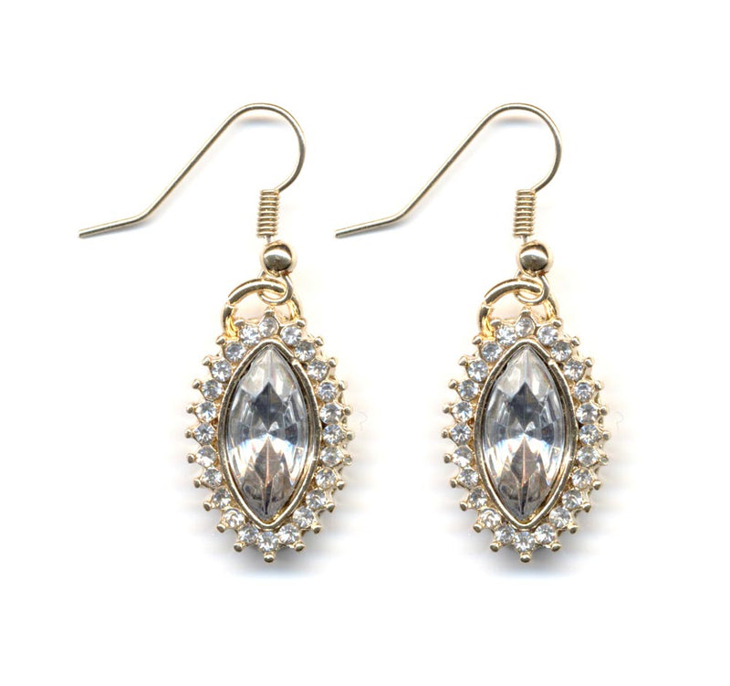 Pretty Gold Crystal Drop Earrings