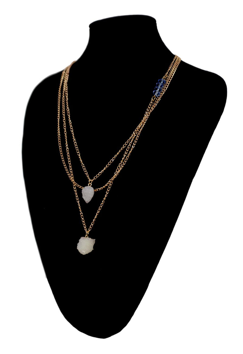 Multi-layer Gold Necklace with Blue Beads and Crystals