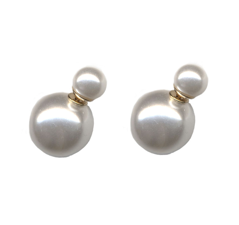 White Gloss Double Sided Earrings