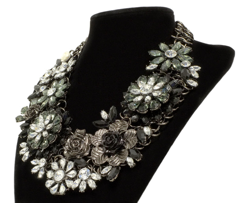 Large Grey Floral Crystal Statement Necklace