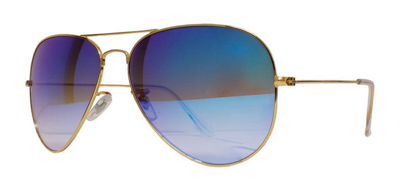 Gold Frame Mirrored Aviator - Blue/Purple