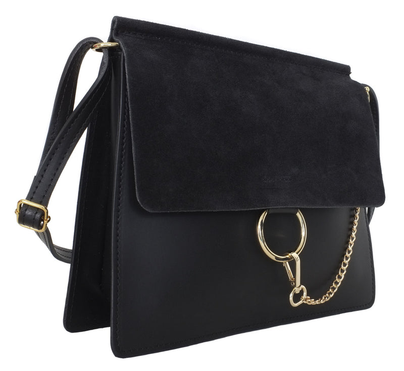 Black Suede and Leather Crossbody