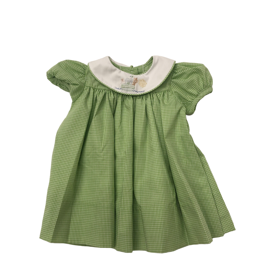 Green Check Dress with Noah's Ark Collar