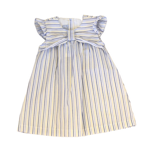 BELLA B Blue and Yellow Striped Dress with Bow at Top
