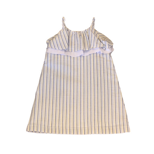 BELLA B Blue and Yellow Striped Dress with Ruffle Top