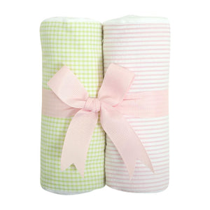 3M Lt Pink Stripe/Grn Check 2PK Burp Cloths