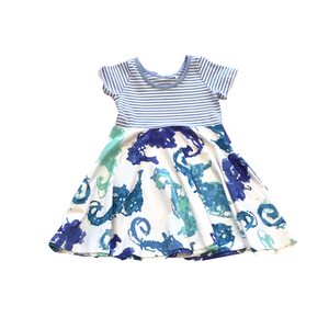 3F Blue and Green Seahorse Dress
