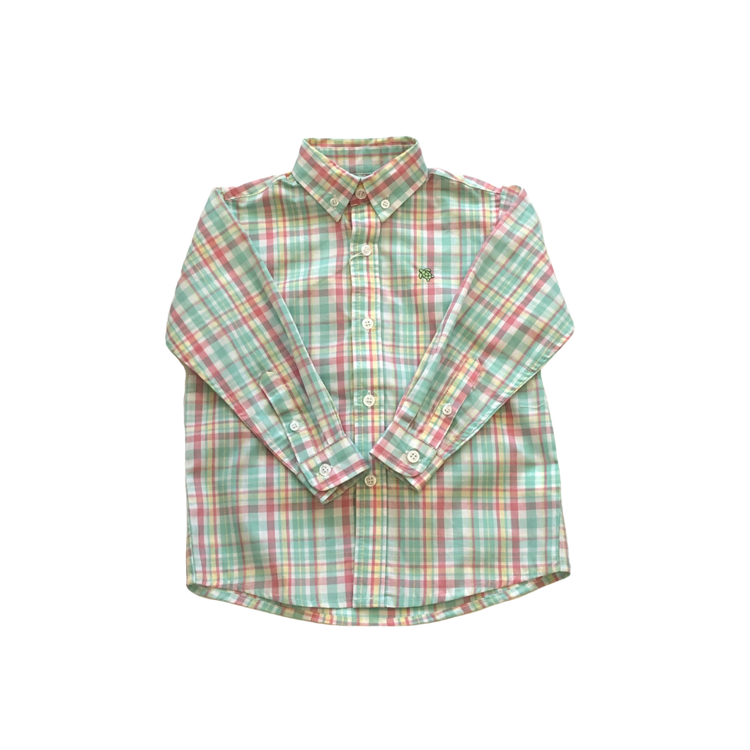 BB Pink  and Turquoise  Plaid Shirt