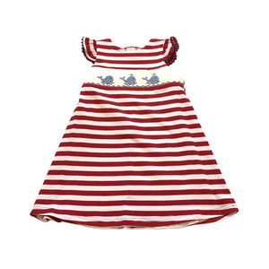 VLF Red Stripped Knit Dress with Whale Smock