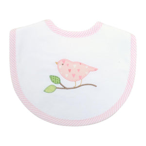 3M Pink Bird Applique Bib