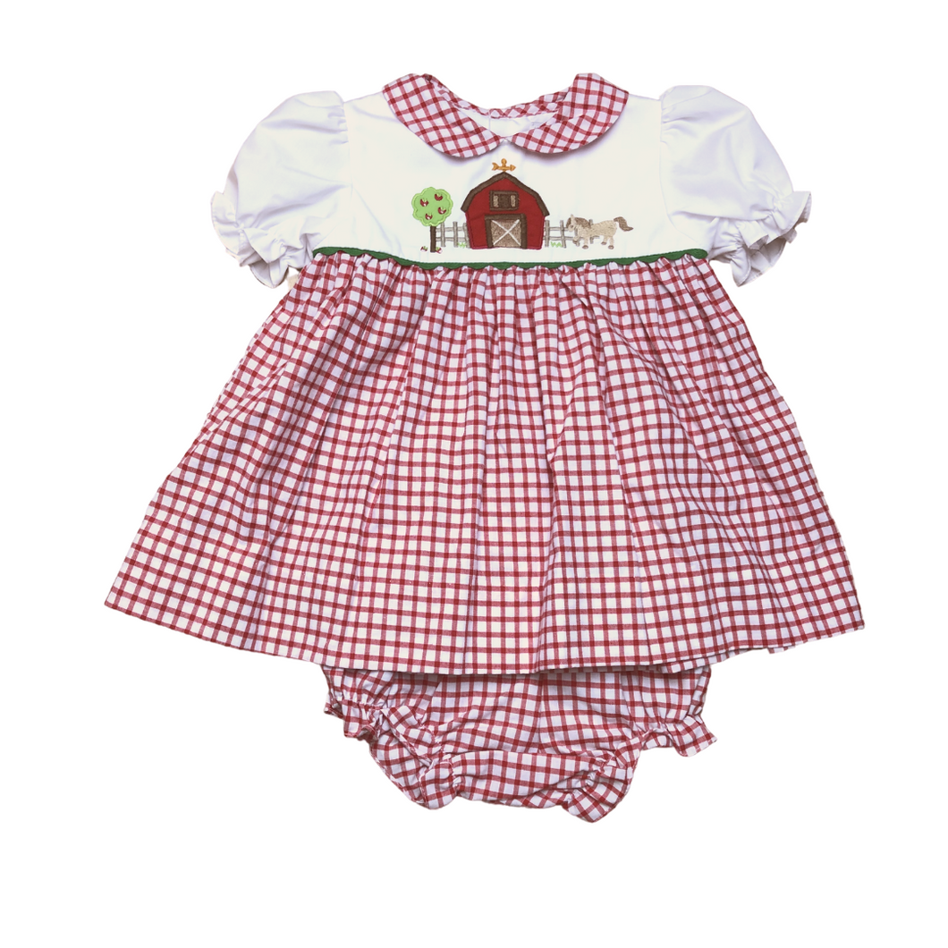 PA Red Check Farm Smock Dress