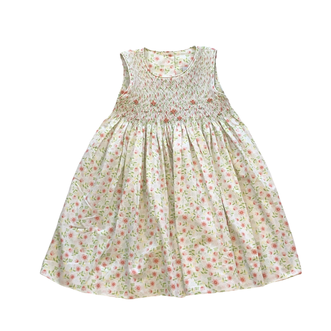 DEL Green and Peach Floral Smoked Yoke Dress