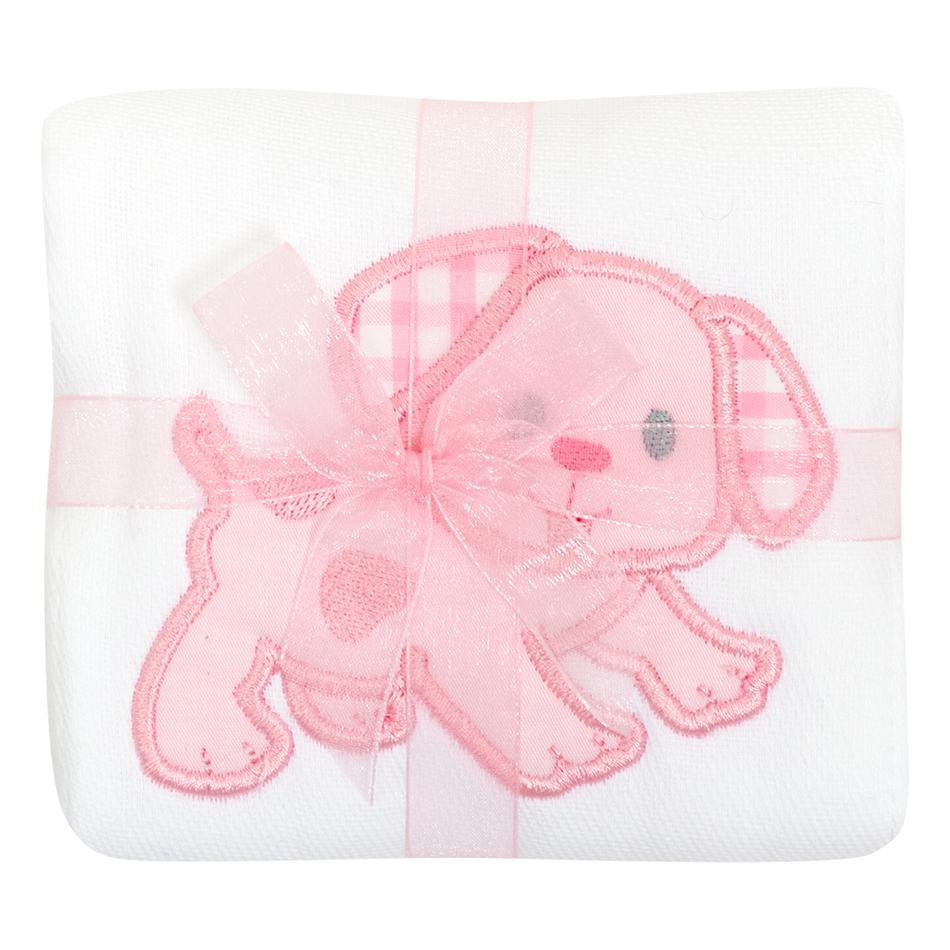 3M Pink Dog Applique Burp Cloth