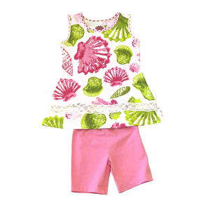 3F 2 Piece Pink and Green Sea Shell Set