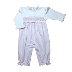 KK Pink Smocked Playsuit with Ruffle